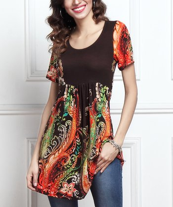 48385f080bc Brown Paisley Short-Sleeve Empire-Waist Tunic - Women. Black & White Floral  ...