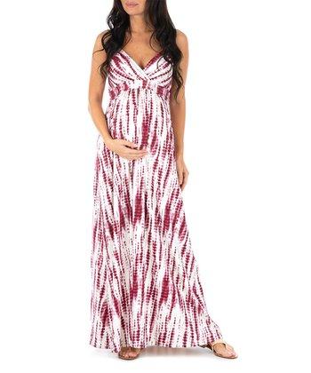 0a91d6117b Burgundy   White Tie-Dye Stripe Surplice Maternity Maxi Dress