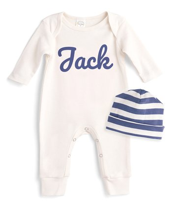 f38f66d19d0 Ivory Personalized Playsuit   Blue Stripe Beanie Set - Newborn   Infant