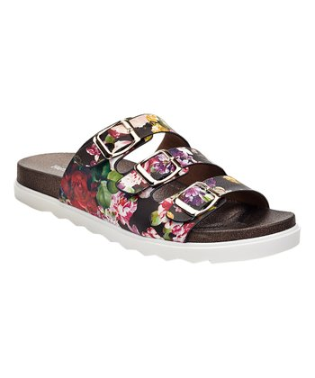 Black Floral Three-Strap Sandal - Women