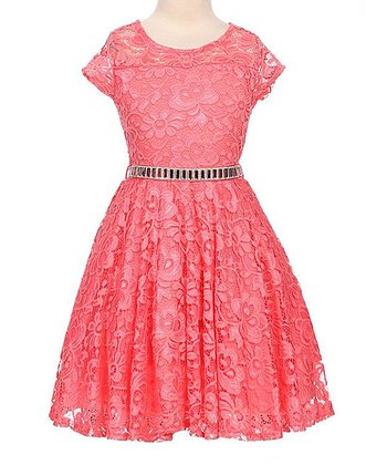 Coral Lace-Overlay Tie-Waist Skater Dress - Toddler   Girls 2d2ab7af8