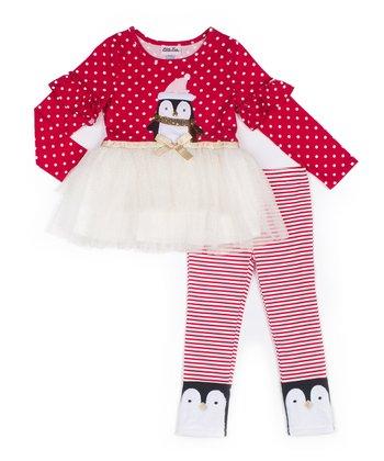 8e83d2e3640f Red Polka Dot Penguin Tulle Tunic & Red Stripe Leggings - Infant