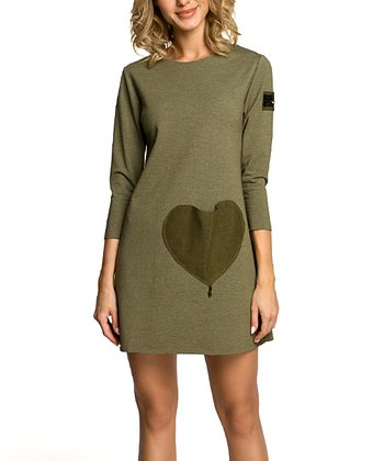 2f51db782d7 Khaki French Terry Shift Dress - Women