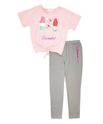 a2f6c4bec64731 Candy Pink Glitter 'Sweet' Tie-Front Tee & Leggings - Girls