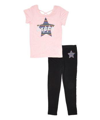 312cb237c07d5b Bubblegum Pink 'Happy' Crisscross-Strap Tee & Black Leggings - Girls