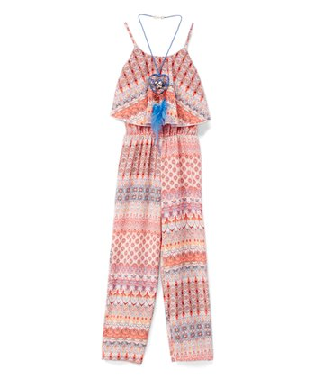 51734bb0f093 Coral Abstract Print Romper   Blue Heart Dreamcatcher Necklace - Girls