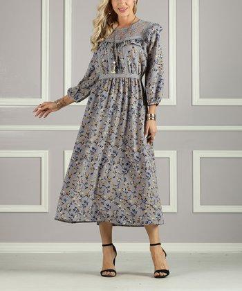 c36a0b112d6 Gray Floral Empire-Waist Dress - Plus