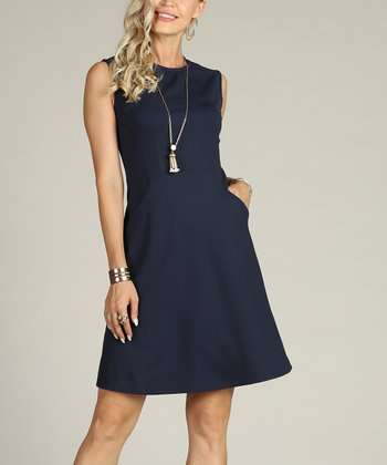 69ccd4483a6 Navy Fit   Flare Dress - Plus