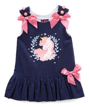 a7519d635eda Dark Blue Corduroy Unicorn Bow-Accent Bubble Dress - Infant   Toddler