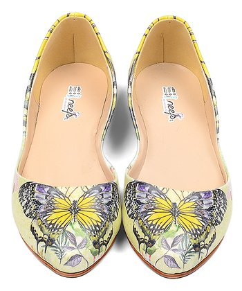 084a0d6b0f8ab Yellow Butterfly Printed Flat - Women