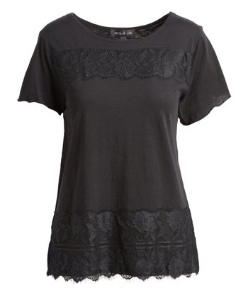 6d109ad1218165 Black Floral Lace-Trim Scoop Neck Top - Women