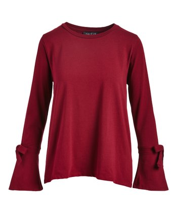 7106eab5f6d95 Mulled Wine Bow-Accent Bell-Sleeve Top - Women