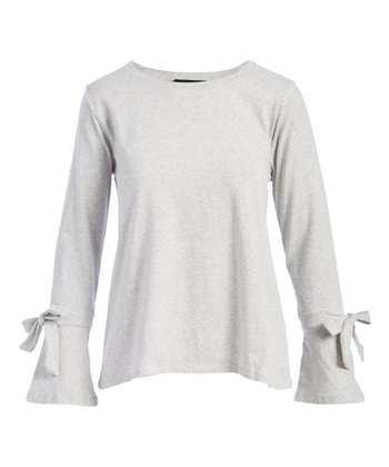 d423c8069acd9 Heather Gray Bow-Accent Bell-Sleeve Top - Women