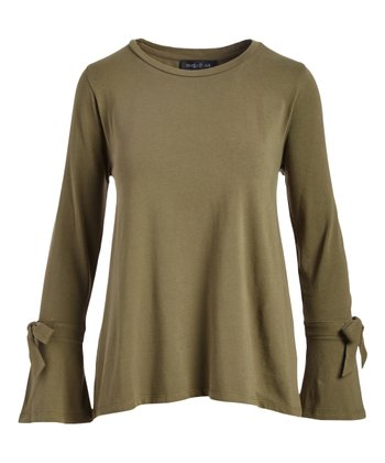 9085f1a7321ea Olive Bow-Accent Bell-Sleeve Top - Women