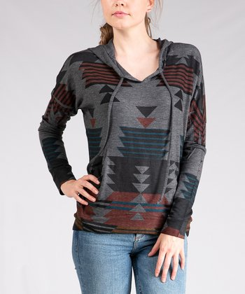 0f2966f8d2b54 Charcoal   Black Geometric Hoodie - Women. Black Lace-Trim Sleeveless ...