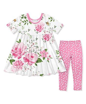 16d23380aae78 Pink Floral Baby Doll Dress   Dot Leggings Set - Infant