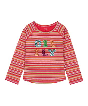 d3a50d671 Red & Pink Stripe Sequin-Accents Tumble Long-Sleeve Tee - Toddler & Girls