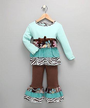 e50f46eb9 Chocolate & Teal Zebra Top & Pants - Toddler & Girls
