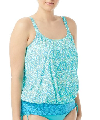 6e0efce0a3895 Cari Aqua Sarah Blouson Tankini Top - Plus. Black   White Palms Abbey Side-Tie  Bikini ...