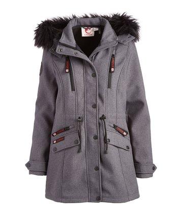 83b8a452208 Black Faux Fur-Trim Funnel Collar Jacket - Women · Charcoal Hooded Anorak -  Women