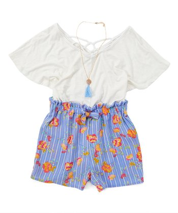 1027b0a1e478 White & Periwinkle Floral Romper & Necklace - Girls