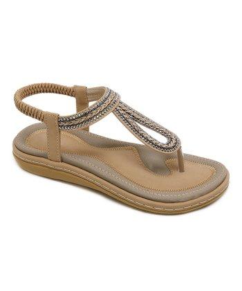 b5971cc22c56 Latte Rhinestone-Trim Cutout Sandal - Women
