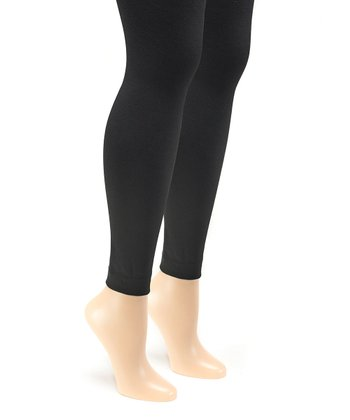 af8bf4c9fc7 Black Fleece-Lined Footless Tights Set - Women · Black   Dark Gray ...