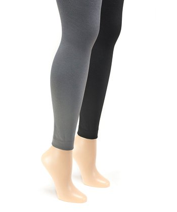 af30bf4e491b74 Black & Dark Gray Fleece-Lined Footless Tights Set - Women