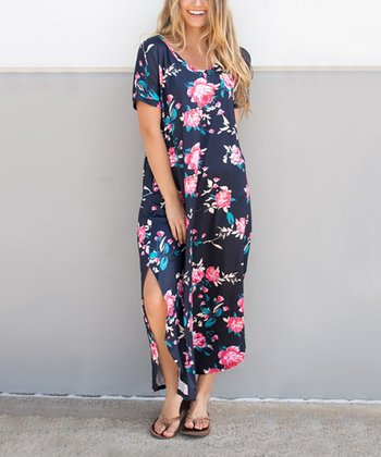 f6dd7690d56 Navy Floral Side-Slit Maxi Dress - Women