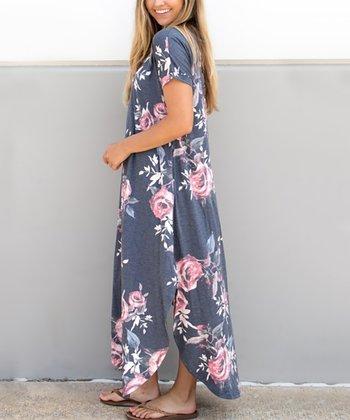 c01496db83c Charcoal Floral Side-Slit Maxi Dress - Women