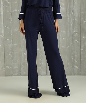 a421ce9194ced Navy Contrast-Piping Lounge Pants - Women & Plus