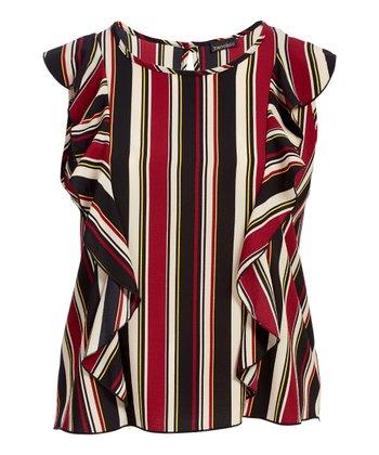 7dba6707fd3c3 Burgundy Stripe Ruffle Cap-Sleeve Top - Plus