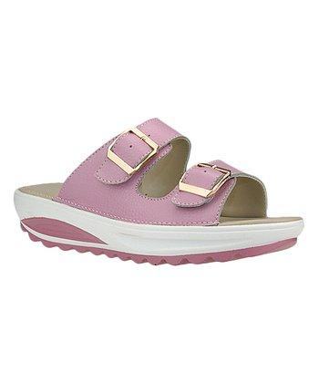 17bb4d5afe20 Pink Buckle-Strap Leather Sandal - Women