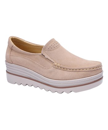 130e4bdeb7d Beige   White Suede Loafer - Women