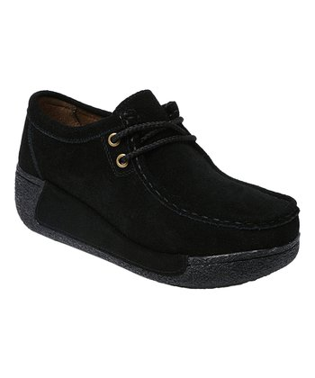 c50659eadad Black High-Collar Lace-Up Leather Loafer - Women