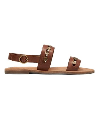 8ed1969d7c06c5 Cognac Ally Two-Band Hammered-Stud Leather Slingback Sandal - Women