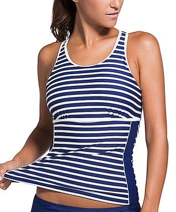 65f4904904e87 Blue & White Racerback Tankini Set - Women