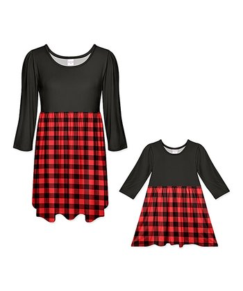 7158e195a4bbe Red   Black Buffalo Check Contrast A-Line Dress - Women