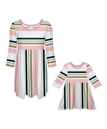 3cc9d24f34ee3 Pink   Black Stripe A-Line Dress - Girls   Women