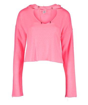 533fdee1d Hot Pink Crop Choker-Cutout Hoodie - Women