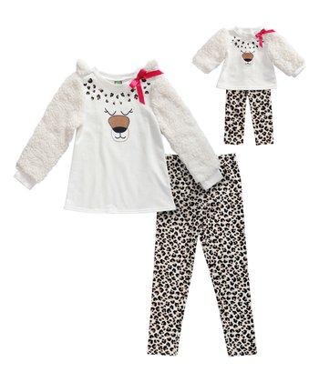 d81322d74cb2a Ivory Leopard Print Polar Bear Long-Sleeve Top Set & Doll Outfit - Girls