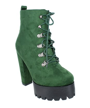 b8b481dd905c Olive Green Lace-Up Elevated Erin Boot - Women