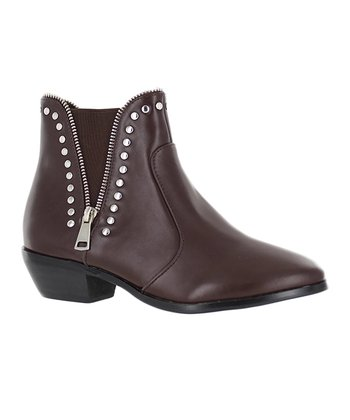 f0efc7b0143e Brown Studded Zip-Accent Ankle Boot - Women