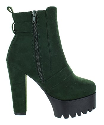 43f3db91e36f Olive Green Zip-Up Elevated Erin Boot - Women