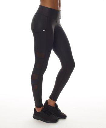 bc2eeab20de861 Black Mesh Side-Panel Leggings - Women