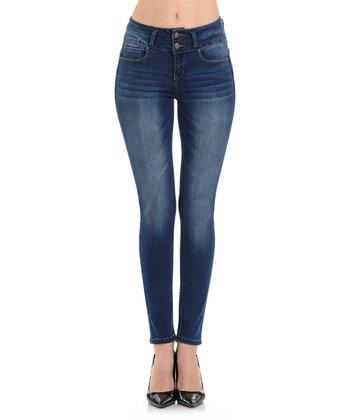 0cff6e537 Dark Blue Double-Button Push-Up Skinny Jeans - Women & Juniors