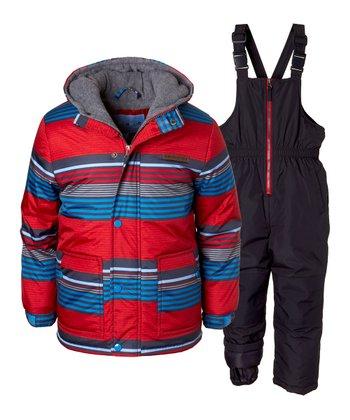 f146ae717 Red Stripe Puffer Coat & Snow Bib - Infant & Toddler
