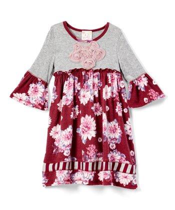 4a8812f42cb4 Gray & Burgundy Floral Ruffle-Sleeve A-Line Dress - Girls