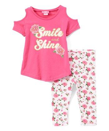 0577d5b420277 Fuchsia 'Smile & Shine' Cold-Shoulder Tee & White Rose Leggings - Girls