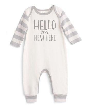 e7bc35ef0 Ivory & Gray Stripe 'Hello, I'm New Here' Playsuit - Infant